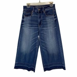 American Eagle Festival Crop Wide Leg Jeans Size 6